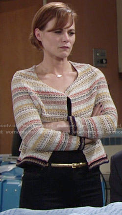 Phyllis's orange and yellow embroidered jacket on The Young and the Restless