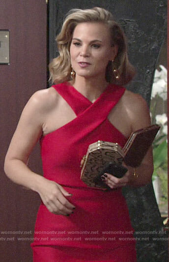 Phyllis's red cross-neck dress on The Young and the Restless