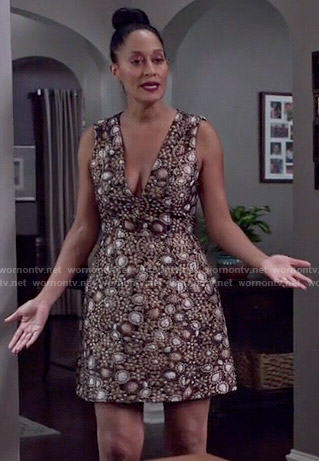 Rainbow's gold paisley v-neck dress on Black-ish