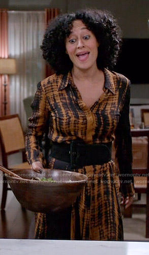 Rainbow's orange tie dyed shirtdress on Black-ish