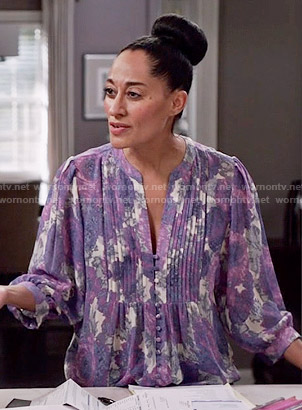 Rainbow's purple floral pintucked blouse on Black-ish