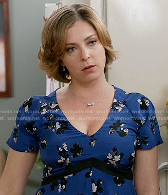 Rebecca's blue floral v-neck dress on Crazy Ex-Girlfriend