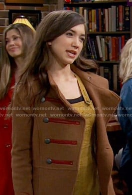 Riley's camel coat with red trim on Girl Meets World