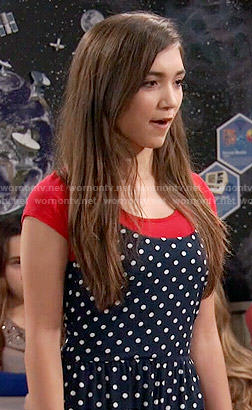 Riley's navy polka dot jumpsuit on Girl Meets World