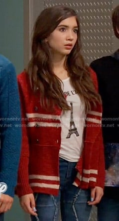Riley's red striped knit jacket and Eiffel Tower top on Girl Meets World