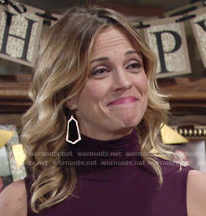 Sage's purple turtleneck dress on The Young and the Restless