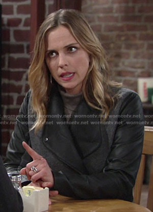 Sage's grey coat with leather sleeves on The Young and the Restless