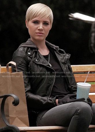 Sara's black leather hooded jacket on Pretty Little Liars