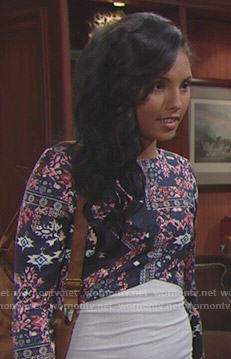 Sasha's printed long sleeve crop top on The Bold and the Beautiful