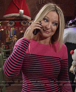 Sharon's pink and navy striped sweater on The Young and the Restless