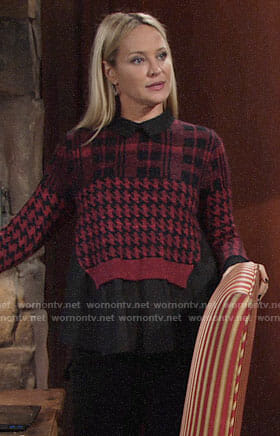 Sharon's red plaid and houndstooth layered sweater on The Young and the Restless