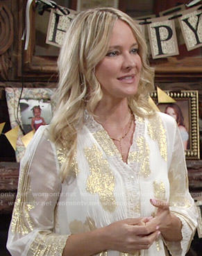 Sharon's white and gold blouse on The Young and the Restless