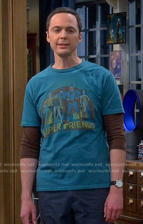 Sheldon's Superfriends T-shirt on The Big Bang Theory