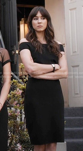 Spencer's black off-shoulder dress on Pretty Little Liars