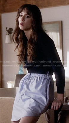 Spencer's navy sweater and blue skirt on Pretty Little Liars
