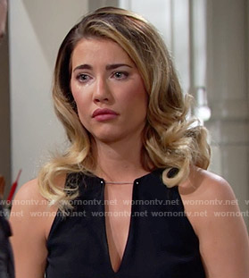 Steffy's black v-neck top with metal bar on The Bold and the Beautiful