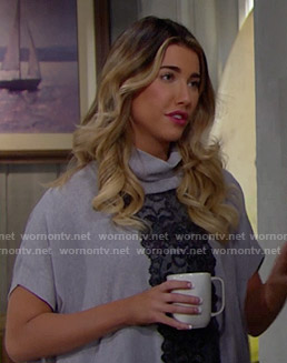 Steffy's grey lace front turtleneck on The Bold and the Beautiful