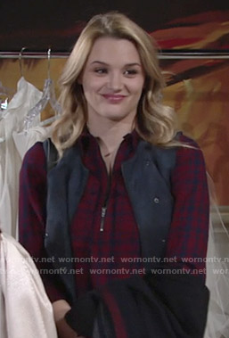 Summer's red plaid zip-neck shirt on The Young and the Restless