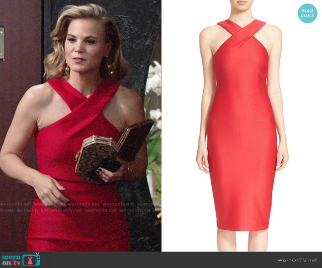 Ted Baker Erskine Dress in Red worn by Gina Tognoni on The Young & the Restless