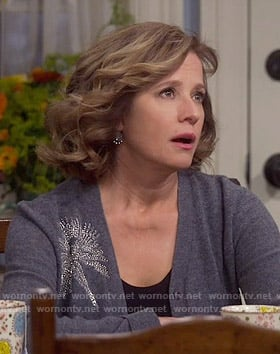 Vanessa's grey embellished cardigan on Last Man Standing
