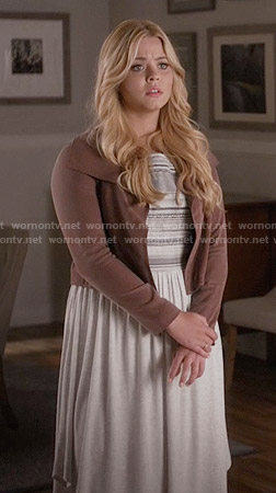 Ali's white embroidered dress and pink jacket on Pretty Little Liars