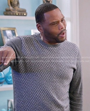 Andre's grey geometric print sweater on Black-ish