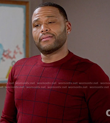 Andre's red windowpane sweater on Black-ish