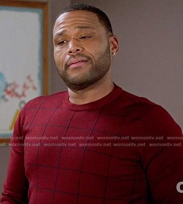Andre's red windowpane sweater on Black-ish
