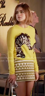 Aria's yellow zebra print sweater on Pretty Little Liars