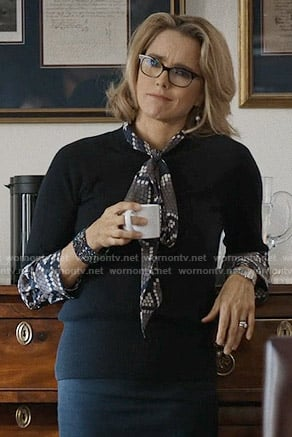 Elizabeth's honeycomb print blouse on Madam Secretary