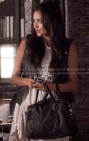 Emily's embroidered tunic with perforated panel on Pretty Little Liars
