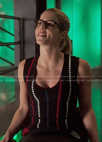 Felicity's black top with red, white and blue dotted stripes on Arrow