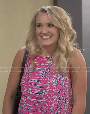 Gabi's pink abstract print top on Young and Hungry