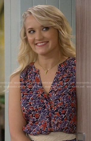Gabi's purple and red printed top on Young and Hungry