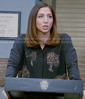 Gina's black tiger print shirt on Brooklyn Nine-Nine