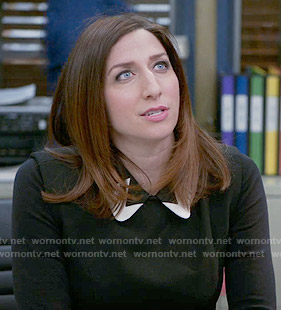 Gina's black top with contrasting collar on Brooklyn Nine-Nine