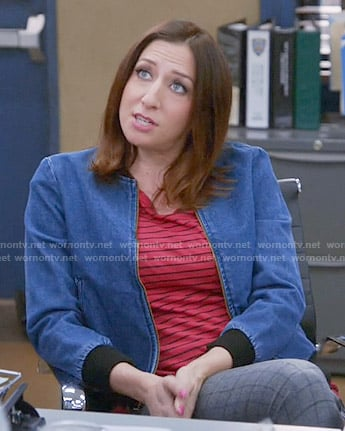 Gina's red striped tee and denim bomber jacket on Brooklyn Nine-Nine