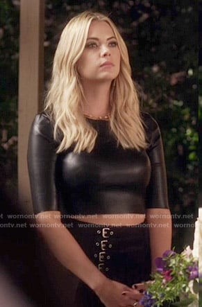 Hanna's leather crop top and buckled skirt on Pretty Little Liars