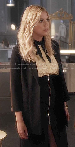 Hanna's yellow lace top and black zip-front skirt on Pretty Little Liars