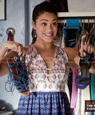 Jane's mixed print dress on Jane the Virgin