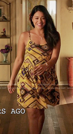 Jane's yellow printed dress on Jane the Virgin