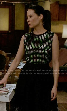 Joan's green and black overlay dress on Elementary