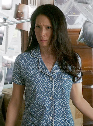 Joan's blue polka dot pajamas on Elementary