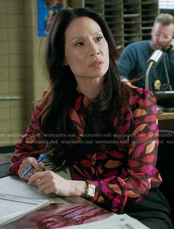 Joan's lips print blouse on Elementary