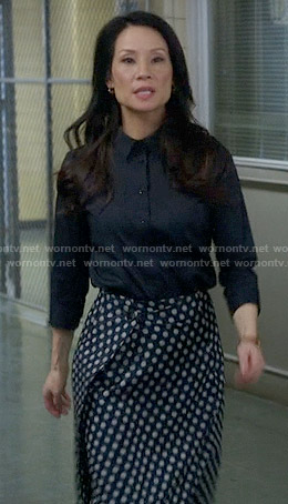 Joan's polka dot wrap skirt on Elementary