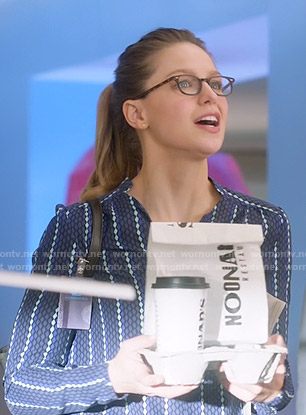 Kara's blue diamond print top on Supergirl