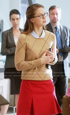 Kara's camel argyle sweater on Supergirl