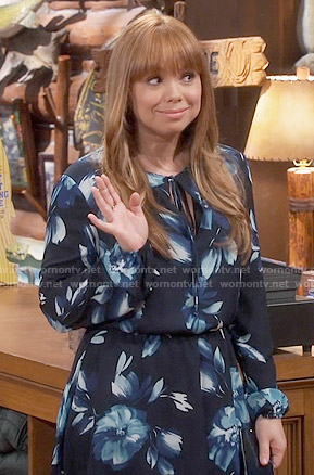 Kristin's black floral long sleeved dress on Last Man Standing