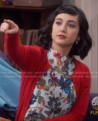 Mandy's floral high-neck top on Last Man Standing