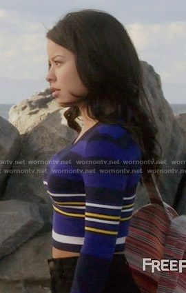 Mariana's blue striped crop top on The Fosters